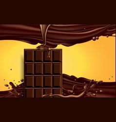 half of the chocolate bar in the chocolate splash vector image