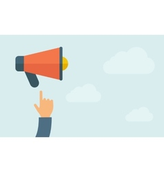 Hand pointing the megaphone vector