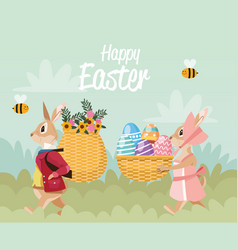 happy easter card with rabbits couple and baskets vector image