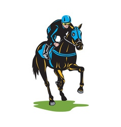 Horse Racing Equestrian Color Woodcut vector