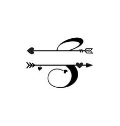 initial s love monogram split letter isolated vector image