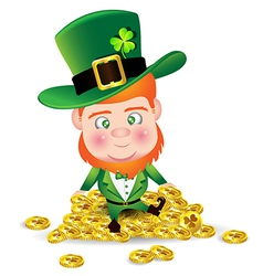 Irish man on gold coin for St Patricks Day card vector