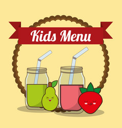 kids menu glass cup with juice fruit vector image