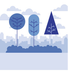 landscape nature trees city background vector image