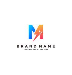Letter m flash electrical logo design vector