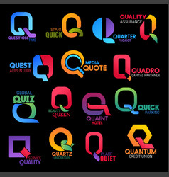 Letter q abstract icons company and brand names vector