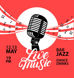 Live music poster with a microphone for concert vector
