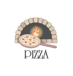 Logo with firewood oven and pizza vector image