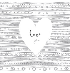 Love you white heart on ethnic background card vector image