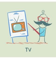 man doing a presentation on TV vector image