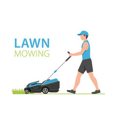 Man with blue lawn mower vector