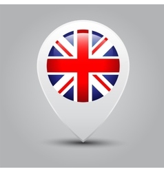 Map pointers with flag United Kingdom vector image