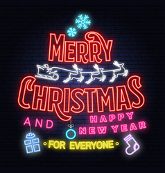 Merry christmas and 2019 happy new year neon sign vector
