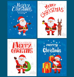merry christmas greetings on postcards santa claus vector image