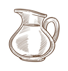 Milk in jug isolated sketch dairy product farm vector