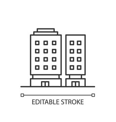 Multiapartment complex pixel perfect linear icon vector