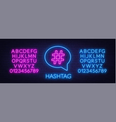 neon hashtag sign in speech bubble on brick wall vector image