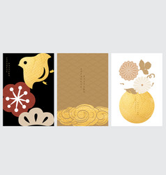 oriental background with gold foil texture vector image