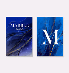 Phantom blue navy marble texture with gold foil vector