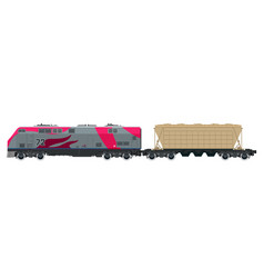 Pink locomotive with hopper car vector