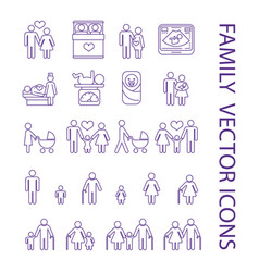 pregnancy and family thin line icons set vector image