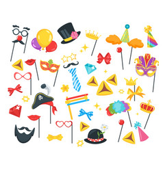 Purim jewish holiday set vector