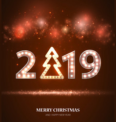 retro count 2019 new year greeting card vector image
