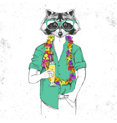 Retro hipster animal raccoon with tropic cocktail vector