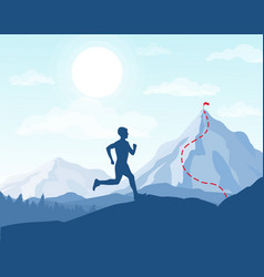 Running man in mountains vector