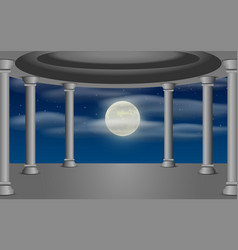 Sanctuary with clouds in full moon night vector