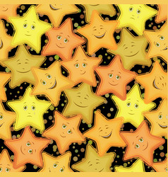 seamless pattern stars smiley vector image