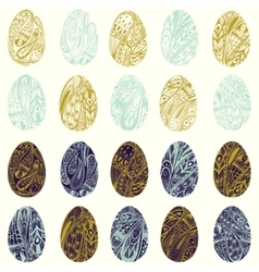 set colorful easter eggs eps 8 vector image