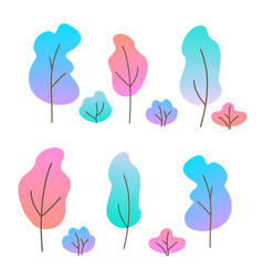 set flat trees and bushes vector image