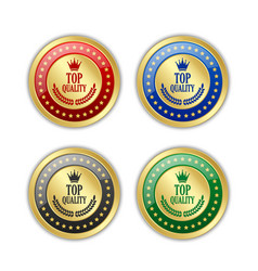 set golden top quality badges on white vector image