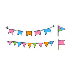 set hand drawn bunting flags holiday vector image