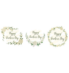 set happy teachers day logo with floral theme vector image