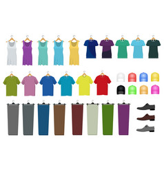 Set male and female clothes hanging on a hanger vector
