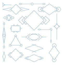 Set of blue linear graphic stylized frames vector