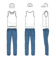 Set of male vest jeans baseball cap vector
