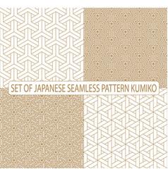 set seamless japanese pattern shoji kumiko golden vector image