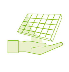Silhouette hand with solar energy element to reuse vector