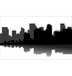 Silhouette of the city beside the river vector image