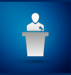 Silver speaker icon isolated on blue background vector