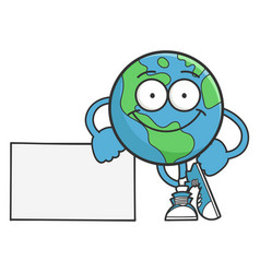 smiling happy planet earth cartoon character vector image