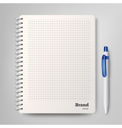 spiral notebook with white ballpoint pen vector image