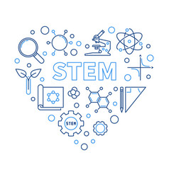 Stem heart concept in thin vector