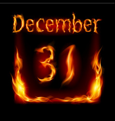 Thirty-first december in calendar of fire icon on vector