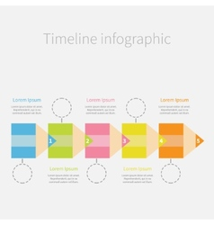 Timeline Infographic with colorful pencil ribbon vector