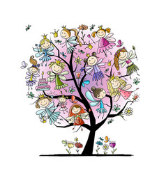 tree with cute little fairies sketch for your vector image