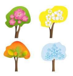 trees with volumetric flowers leaves vector image
